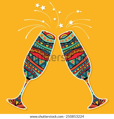 Two ornate glasses celebration card. Ethnic ornament on each glass for champagne, yellow background and fireworks. Bright food elements for any concept. Poster or card template. Vector file is EPS8. - stock vector