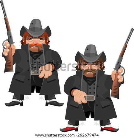two other bandit in raincoats with hunting rifles - stock vector
