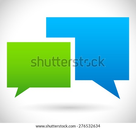 Two overlapping speech, talk bubbles, communication, discussion, chatting. Vector - stock vector