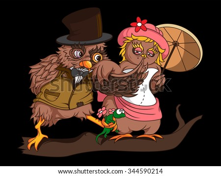 Two owls flirting on a branch - stock vector