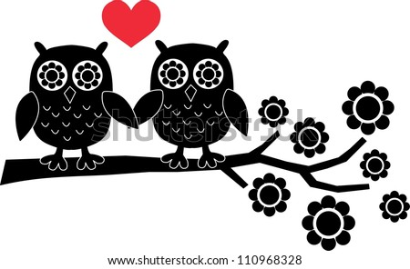 two owls in love - stock vector