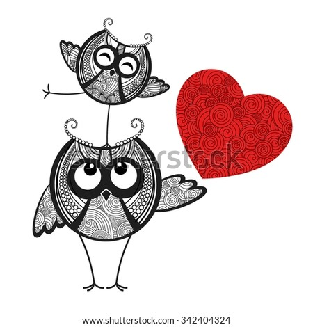 Two owls in love and red heart - stock vector