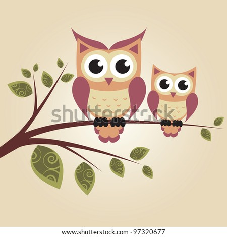 Two owls on the tree - stock vector
