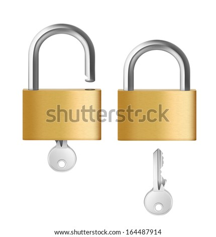 Two padlocks with keys on white background. Vector illustration. Realistic. - stock vector
