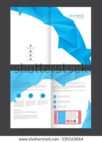 Two page presentation of professional Business Brochure, Flyer, Banner or Template with smartphone. - stock vector