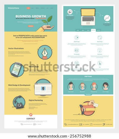 Two page Website design template with concept icons and avatars - stock vector