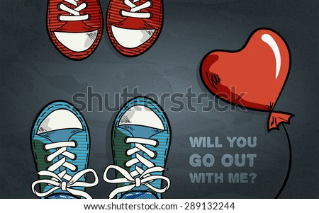 two pair of sneakers, red balloon in heart shape, inscription with invitation for go out, black grey textured  background, top view, vector illustration - stock vector