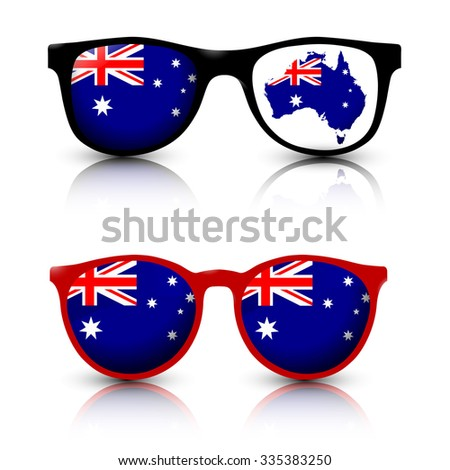 Two pair of trendy sunglasses with Australia flag lens and australian map. Red and Black frame. Vector illustration. - stock vector