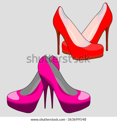 Two pairs of shoes on a white background. Shoes vector illustration.