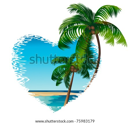 two palm trees on the background of the ocean