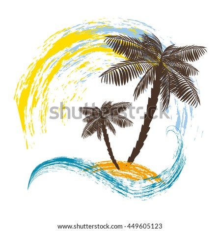 Two palm trees on the island. Ocean wave