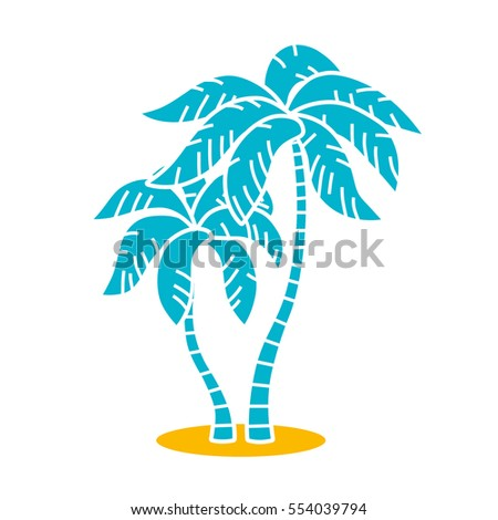 Two palm trees vector icon isolated.