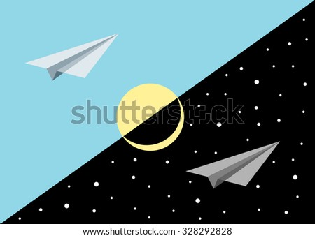 Two paper airplanes against the blue and black sky - stock vector