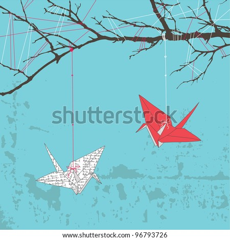 Two paper cranes hanging on tree branch - stock vector