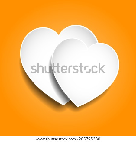Two paper hearts on orange background 3D - stock vector