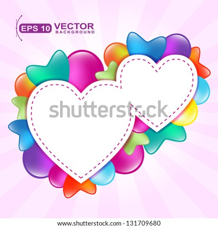 two paper hearts with colored  balloon greeting card sample