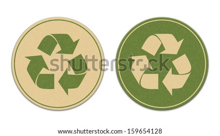 Two paper recycle stickers isolated on white background - stock vector