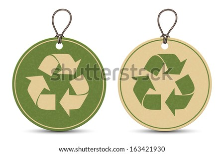 Two paper recycle tags isolated on white background - stock vector