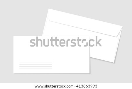 Two paper white envelopes with lines for address. Blank paper envelopes for your design. Vector envelopes template.