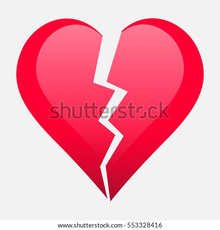 Two Parts Broken Heart Valentine Heart Stock Vector 553328416