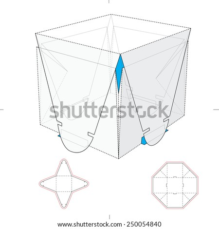 Two Parts Wrapping Box with Die Cut Template - stock vector