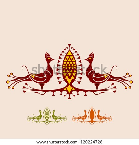 Two peacocks and fruit. Components to build own designs. Each element in one color, no gradients. - stock vector