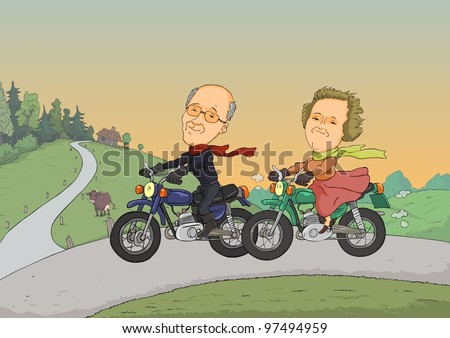 Two pensioners traveling on motorcycles on a rural road - stock vector