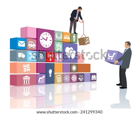 Two people are developing the web page or software - stock vector