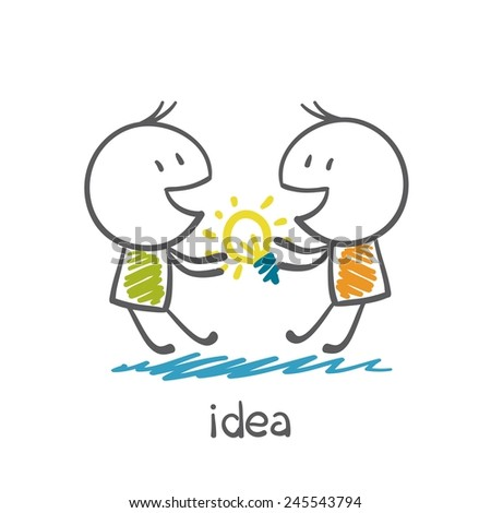 Two people are fighting for the idea-bulb illustration - stock vector