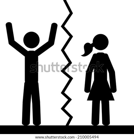 Two people are separated. It is a stick figure vector. EPS10  - stock vector