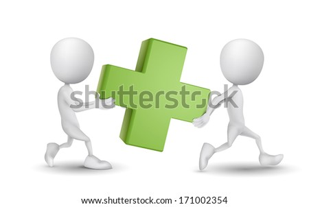 two people carried a green cross - stock vector