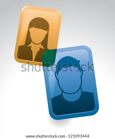 Two people chat over the phone using a web cam. - stock vector