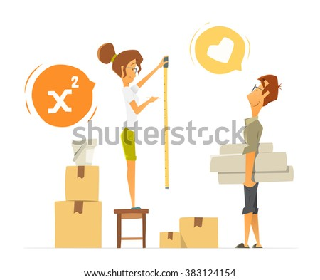 Two people couple happy young family. Flat home house repair renovation. Woman measuring a wall. Isolated on white background. - stock vector