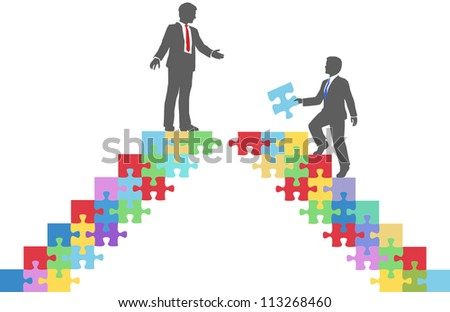 Two people find connection to team up on puzzle in a merger make a deal or collaborate - stock vector