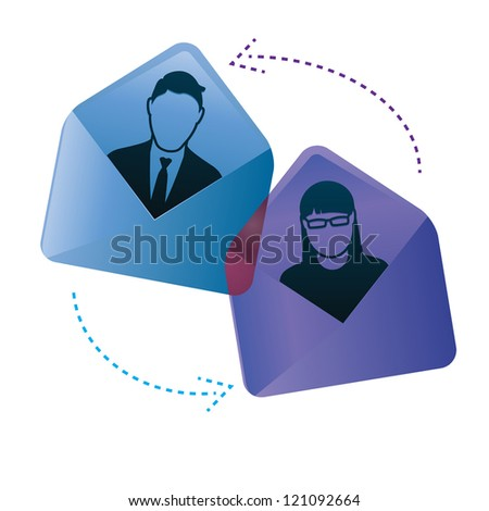 Two people have an email conversation. They are shown inside envelopes. - stock vector