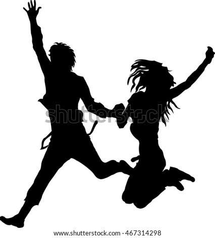 Two people jump silhouette vector