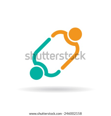 Two people linked - stock vector