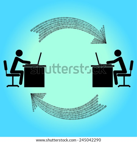 two people share information over the network - stock vector