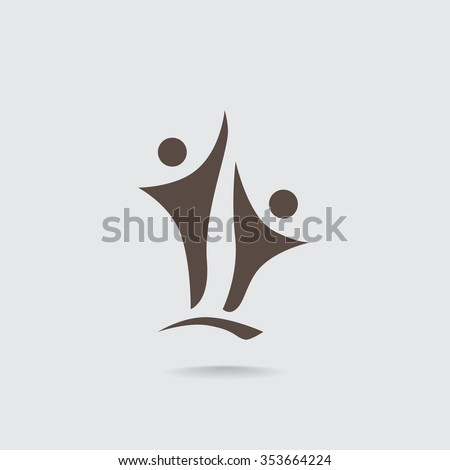 Two people silhouettes reaching up logo - stock vector
