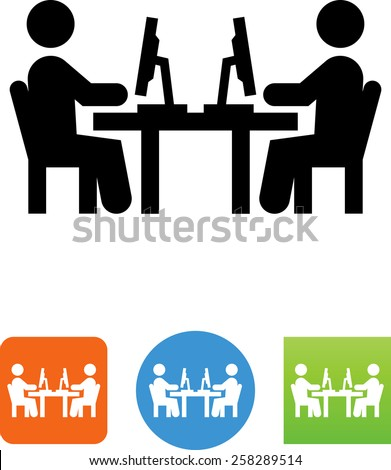 Two people sit working with computers - symbol for download. Vector icons for video, mobile apps, Web sites and print projects.  - stock vector