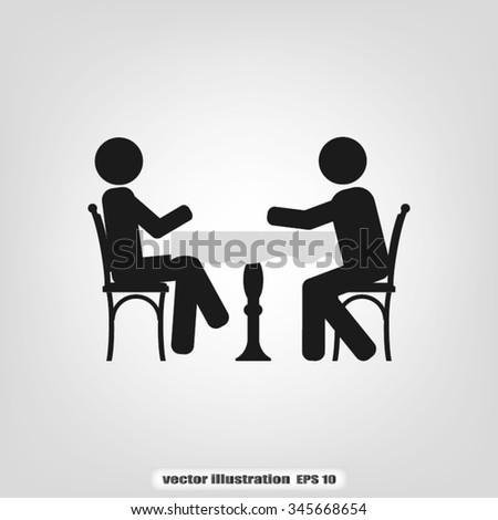two people table chair - stock vector