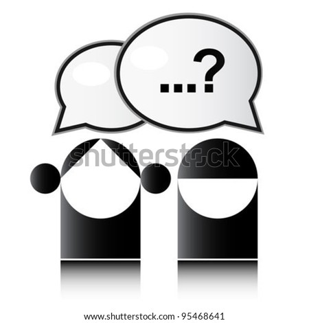 Two people with question mark - stock vector
