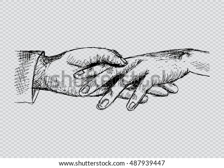 Two persons are holding hands each other. Sketchy style.