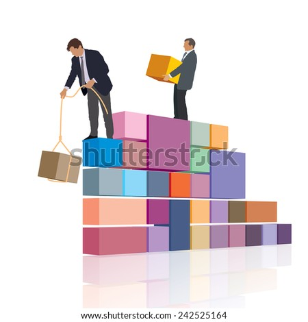 Two persons are working together, builds their own business.  - stock vector
