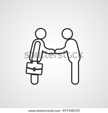 Two persons, business meeting icon, hand shaking symbol, agreement sign