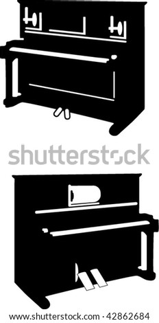 two piano - stock vector