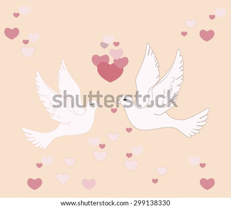 Two pigeons flying in sky with love hearts. Vector   - stock vector