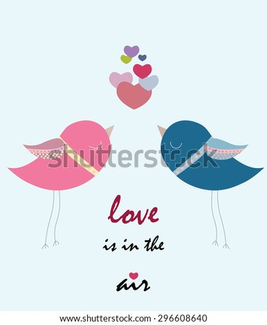 Two pigeons love. Spring Summer romantic background with flowers - stock vector