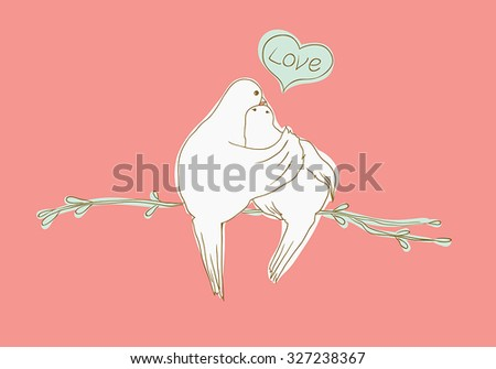 two pigeons sitting on the branch and kissing. vector illustration.