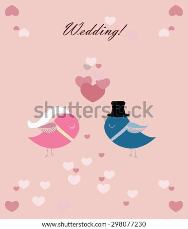 Two pigeons' wedding ceremony with love hearts. Vector   - stock vector